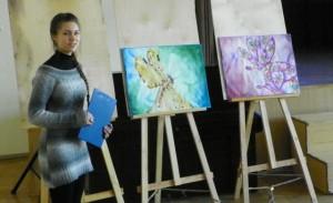 Rūta Dovydaitytė darbų pristatymo metu