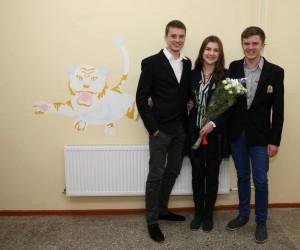 Agnė Laurinavičiūtė su klasės draugais
