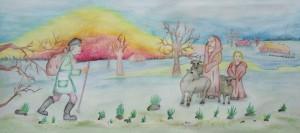 Aut. Paulina Valiulytė II kl. Popierius, akvarelė, akvareliniai pieštukai.
